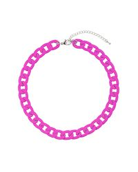 TOPSHOP | Pink Chunky Fuchsia Chain Necklace | Lyst