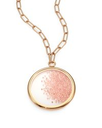 Tory Burch - Pink Glitter Crystal Pendant Necklace - Lyst
