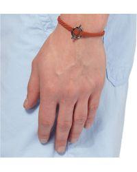 Yuvi - Orange Silver and Woven Cord Bracelet for Men - Lyst