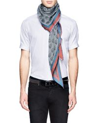 Alexander McQueen | Gray Bordered Skull-print Triangle Scarf for Men | Lyst