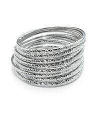 ABS By Allen Schwartz - Metallic Textured Bangle- Set Of 8 - Lyst