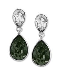 Givenchy - Green Black and White Swarovski Crystal Teardrop Earrings - Lyst