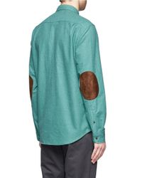 J.Crew - Green Heathered Chamois Elbow-patch Shirt for Men - Lyst