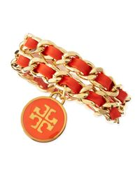 Tory Burch - Orange Leather Woven Chain Bracelet Coralgolden - Lyst