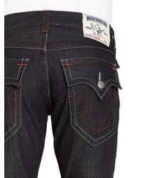 True Religion - Blue Contrast Red Stitched Cotton Straightleg Jeansbody Rinse for Men - Lyst