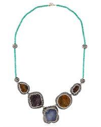 Aamaya By Priyanka - Blue Statement Necklace - Lyst