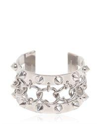 Alexander McQueen - Metallic Studs and Chain Metal Bracelet - Lyst