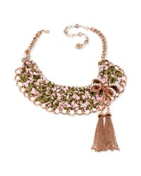 Betsey Johnson - Pink Bow and Ribbon Collar Necklace - Lyst