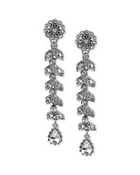 Betsey Johnson | Metallic Crystallized Flower Linear Earrings | Lyst
