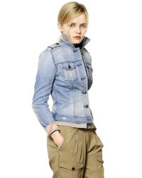 Burberry Brit - Blue Stone Washed Stretch Denim Jacket - Lyst