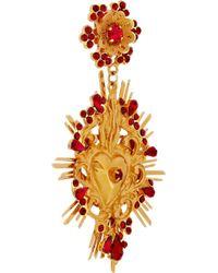 Dolce & Gabbana - Metallic Goldtone Swarovski Crystal Clip Earrings - Lyst