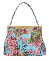 Dolce & Gabbana | Blue Fiori Embellished Woven Shoulder Bag | Lyst