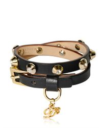 DSquared²   Black Double Wrap Studded Leather Bracelet   Lyst