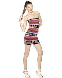 DSquared² - Brown Viscose Cotton Knit Jacquard Dress - Lyst