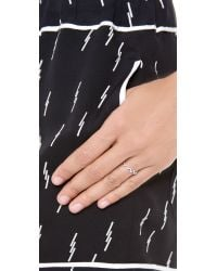 EF Collection - Metallic Pave Diamond Zigzag Stack Ring White Goldclear - Lyst