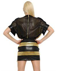 Emanuel Ungaro - Metallic Perforated Laminated Leather Top - Lyst