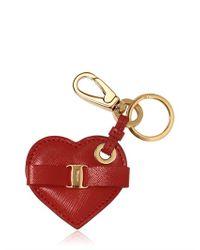 Ferragamo - Red Heart Saffiano Leather Key Holder - Lyst