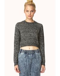 Forever 21 - Black Marled Moment Cropped Sweater You've Been Added To The Waitlist - Lyst
