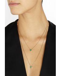 Halleh - Metallic 18-Karat Gold, Emerald And Diamond Necklace - Lyst