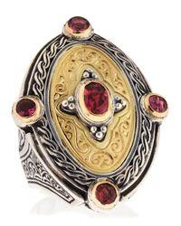 Konstantino - Metallic Twotone Pink Tourmaline Oval Ring Size 7 - Lyst