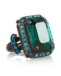 Lanvin | Blue Borneo Gunmetaltone Swarovski Crystal Ring | Lyst