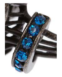 Lanvin - Blue Borneo Gunmetaltone Swarovski Crystal Ring - Lyst