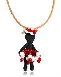 Marni | Multicolor Collana in Pelle Con Bambolina Ricamata | Lyst