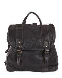 Officine Creative - Black Washed Vintage Leather Backpack for Men - Lyst