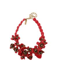 Oscar de la Renta | Red Painted Flower Necklace | Lyst