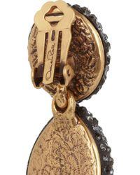 Oscar de la Renta - Black Goldplated Crystal Clip Earrings - Lyst