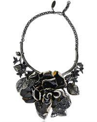 Roberto Cavalli | Black Enamel Flowers Brass Necklace | Lyst