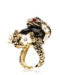 Roberto Cavalli - Metallic Swarovski Stone Carp Ring - Lyst