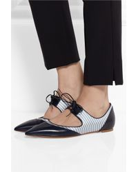 Tabitha Simmons | Blue Bibi Leather And Silk-Twill Pointed-Toe Flats | Lyst