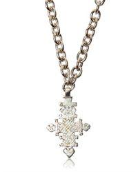 Tom Rebl - Black Woven Leather Cross Pendant Necklace for Men - Lyst