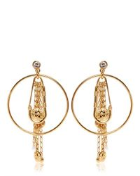 Versus - Metallic Safety Pin Hoop Fringe Earrings - Lyst