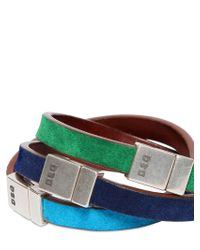 DSquared² - Green Three Multicolor Logo Leather Bracelets for Men - Lyst