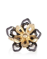 Karen Millen - Black Cutwork Flower Statement Ring - Lyst