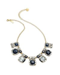 kate spade new york | Metallic New York Goldtone Navy and Clear Stone Short Statement Necklace | Lyst
