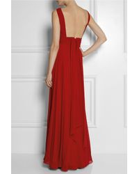 Saint Laurent - Red Hand-pleated Silk-georgette Gown - Lyst