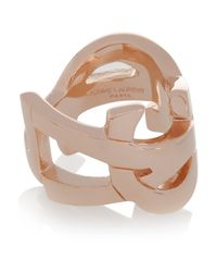 Saint Laurent - Pink Cassandre Rose Goldplated Ring - Lyst