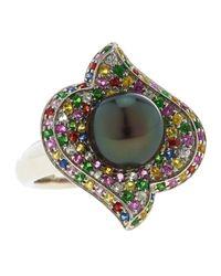 Belpearl | 14k Multicolor Sapphire Tahitian Black Pearl Ring | Lyst