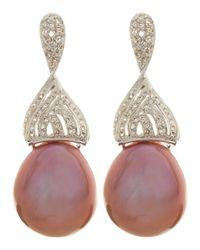 Belpearl | 14k White Gold Twisted Diamond Pink Pearl Earrings | Lyst