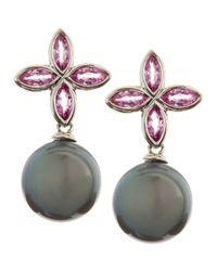 Belpearl | Green 18k White Gold Pink Sapphire Black Pearl Earrings | Lyst