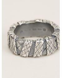 Bottega Veneta | Metallic Check Engraved Chunky Ring for Men | Lyst