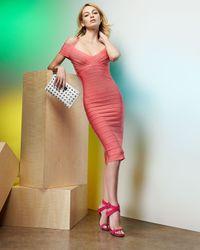 Hervé Léger - Pink Offtheshoulder Bandage Dress Hibiscus - Lyst