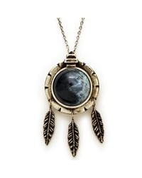 Pamela Love | Dial Pendant with Feathers and Black Agate | Lyst
