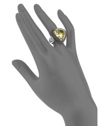 Roberto Coin - Yellow Quartz Pavã Sapphire 18k White Gold Cocktail Ring - Lyst