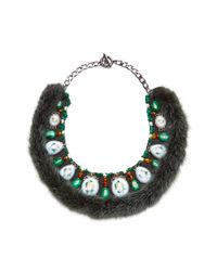 Masterpeace - Green Malachite Amber and Fur Rostov Enamel Necklace - Lyst