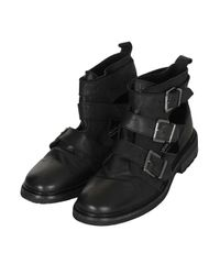 TOPSHOP - Black Art Cutout Washed Boots - Lyst