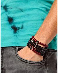 ASOS | Black Bracelet Pack with Multi Beads for Men | Lyst